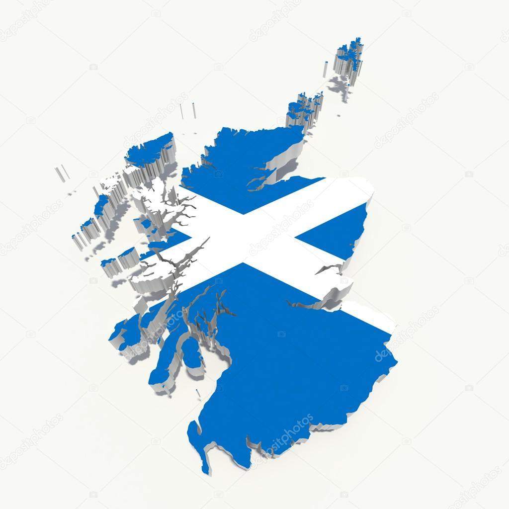 scotland flag on 3d map u2014 stock photo godard 15183431