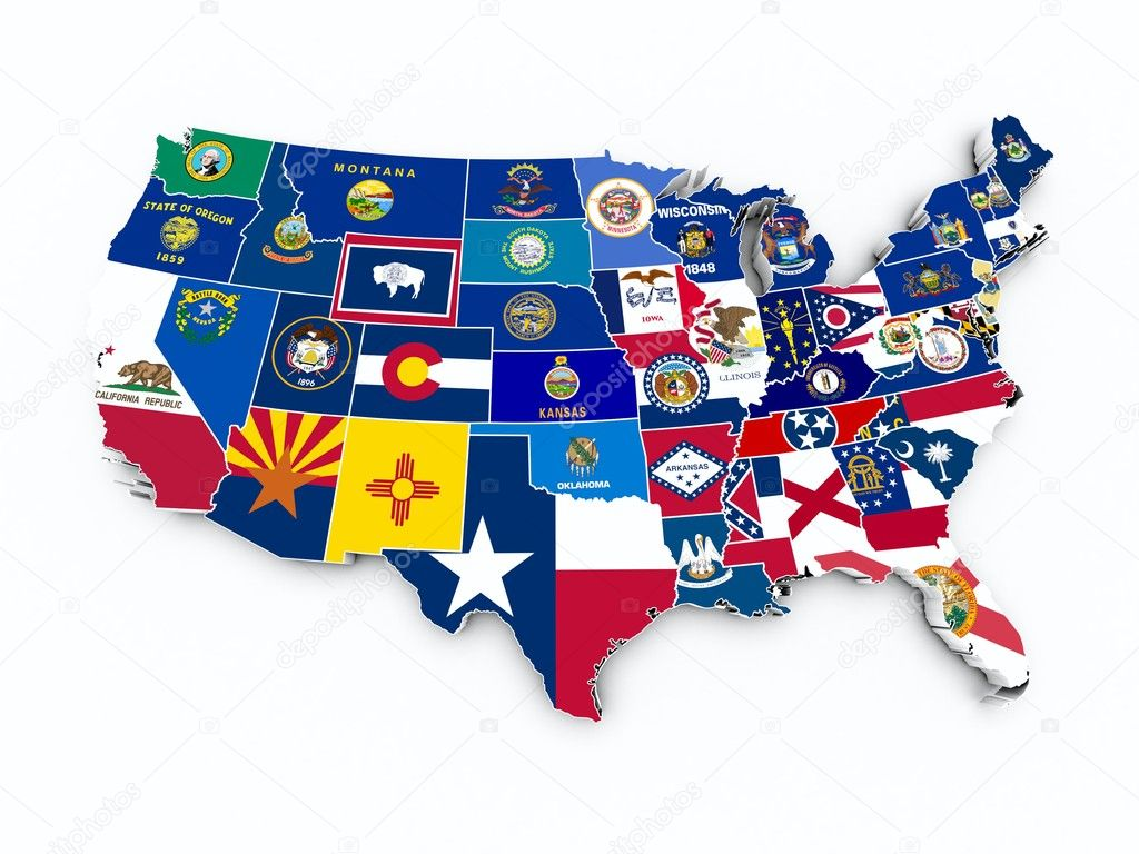 USA State Flags On D Map Stock Photo Godard - Usa state map