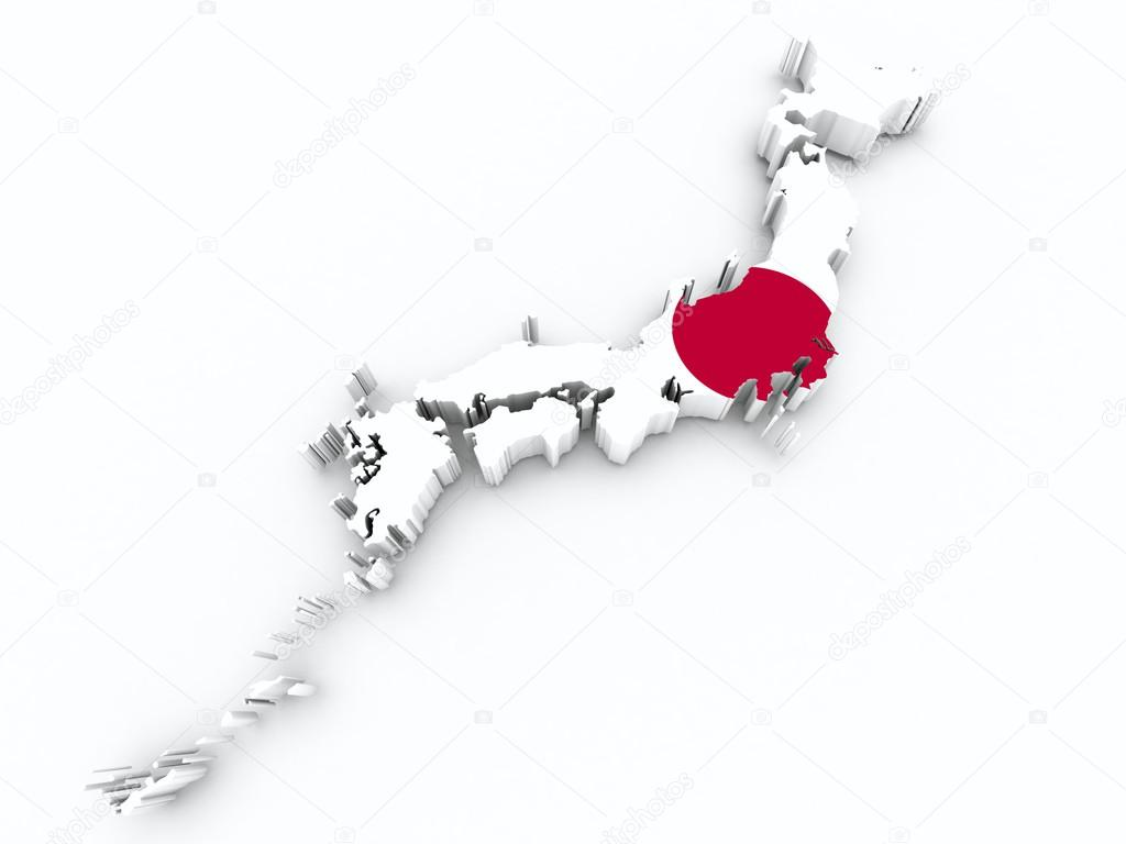 Japan Flag On 3d Map Stock Photo