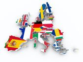 Map europe union state flags on white isolated