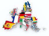 Európai uniós állam zászlók elszigetelt fehér Térkép