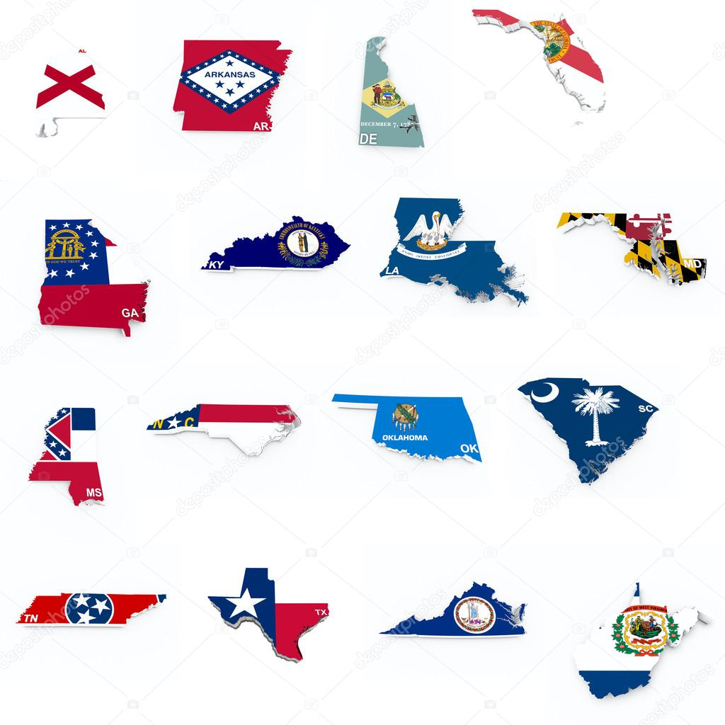 Usa South States Flags On D Maps  Stock Photo  Godard - 3d map usa states