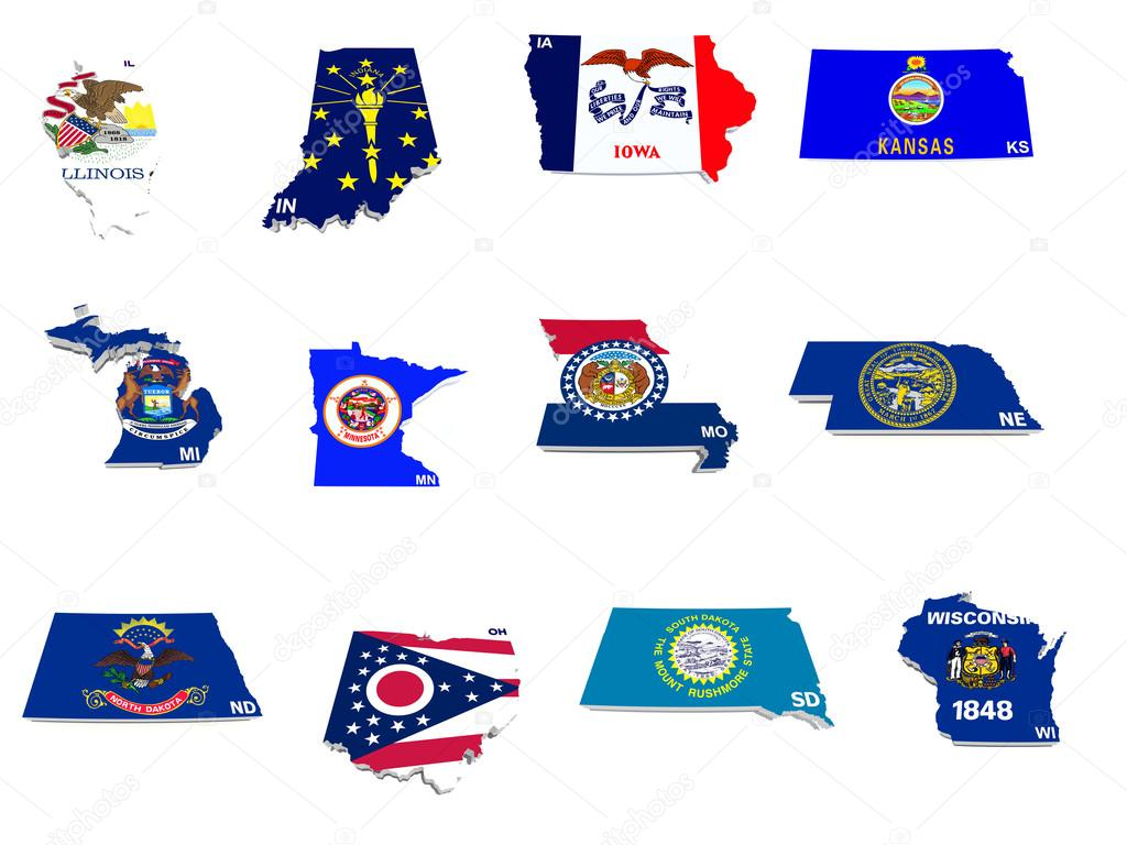 midwest flag usa midwest states flags on 3d maps stock photo 169 godard 5644