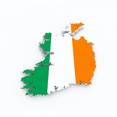 Ireland flag on 3d map