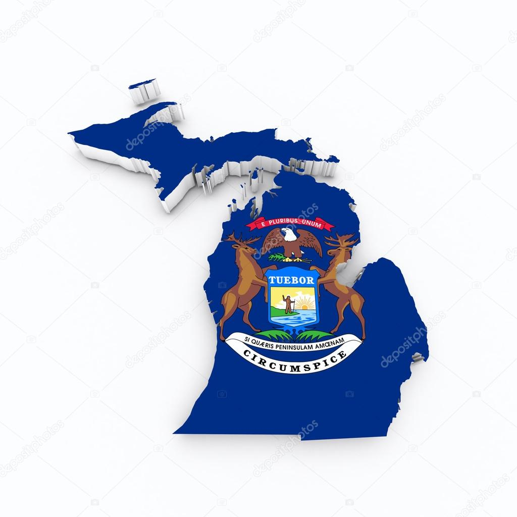 Bandera del estado de Michigan en mapa 3d — Fotos de Stock © godard ...