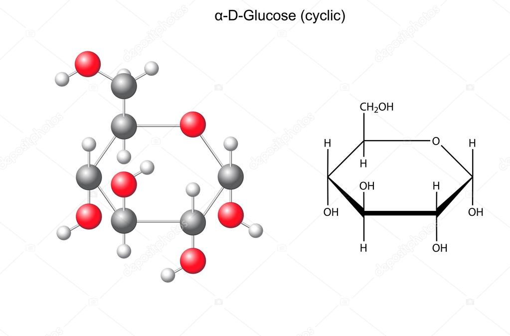 structural chemical formula and model of glucose alpha d glucose stock vector logos2012. Black Bedroom Furniture Sets. Home Design Ideas