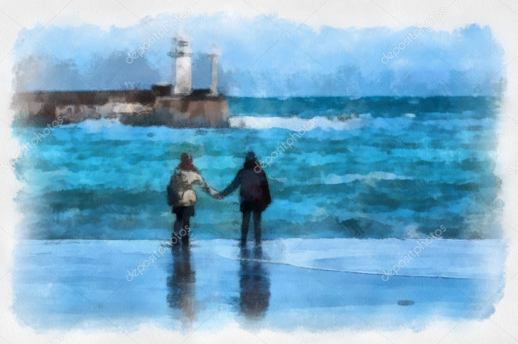 Children play with the storm stylized watercolor