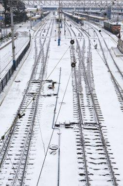 Background of railway lines in winter