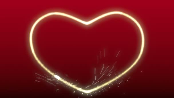 funkelndes Herz auf rotem Hintergrund
