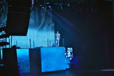 Filipp Kirkorov, Russian pop singer, performs on the stage in Ukraine wearing designed costume