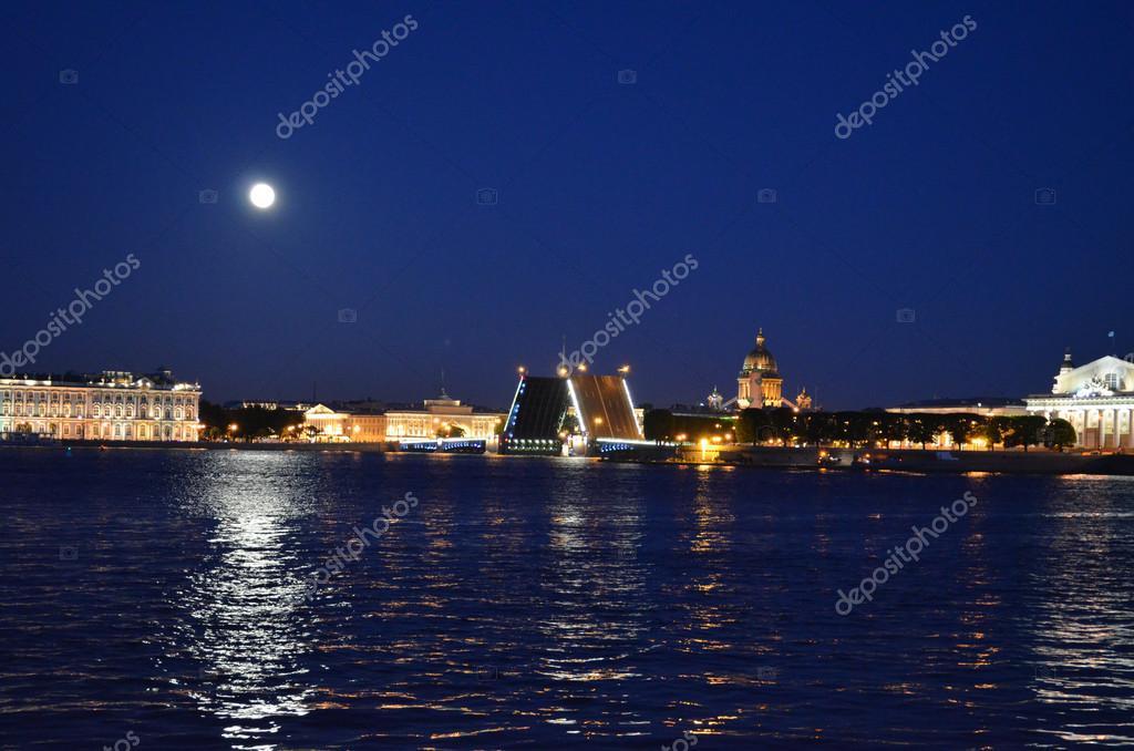 Saint Petersburg with open bridges at night