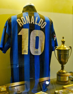 Famous Inter football shirt of Ronaldo, number 10, at the Inter Milan museum