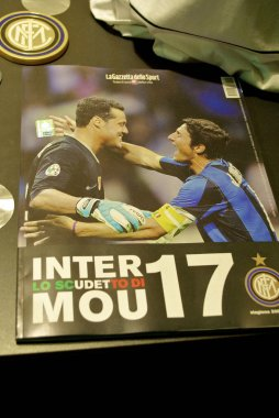 Magazine with Javier Zanetti and Julio Cesar on title at the Inter Milan museum
