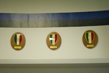 Signs of the victories in Italian league by Inter Milan in their changing room