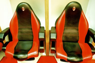 Chairs in the changing room of AC Milan