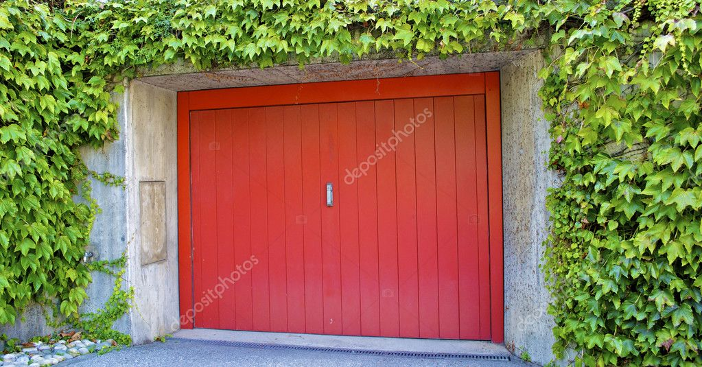 Modern garage with red door
