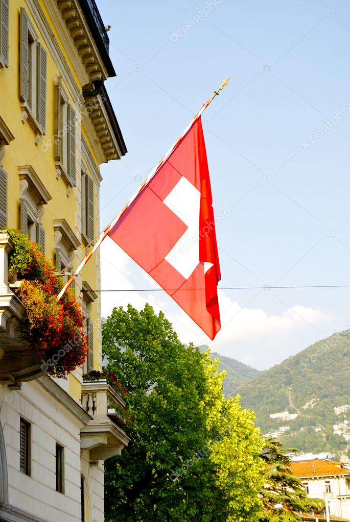 Swiss flag on the building