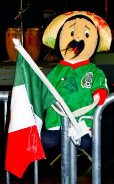 Toy of Pancho from Mexico with the flag