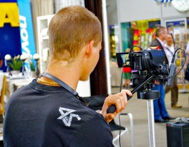 Camera man works