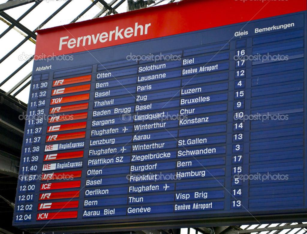 Aeroporto Zurigo Partenze : Tabella di computo dello stazione ferroviaria zurigo hb svizzera