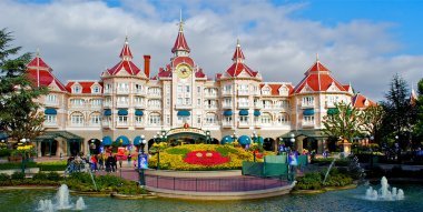 Panoramic view of a Disney castle