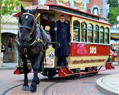 Horse carries the tram