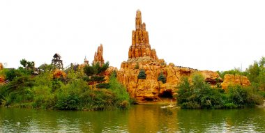 Beautiful rock on the lake in the Disneyland