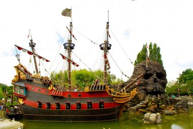 Pirate ship and the Skull rock from Peter Pan cartoon
