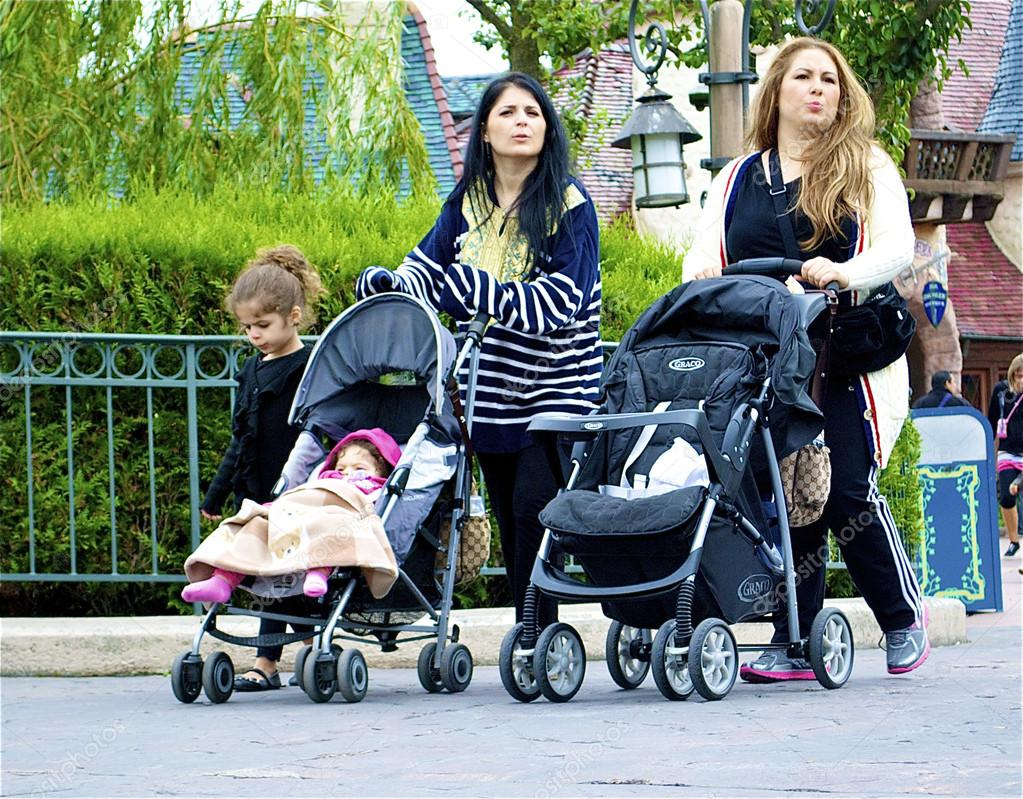 Family with two prams