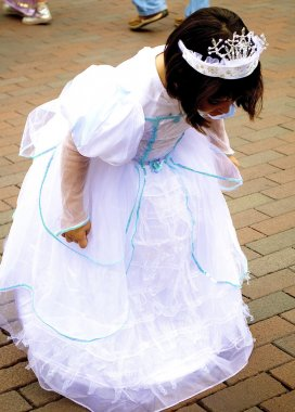Little girl in a Cinderella dress