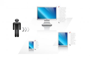 Responsive web design icons set: computer screen, smartphone, tablet isolated on white.