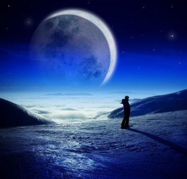 Fantastic winter landscape with beautiful moon in night sky