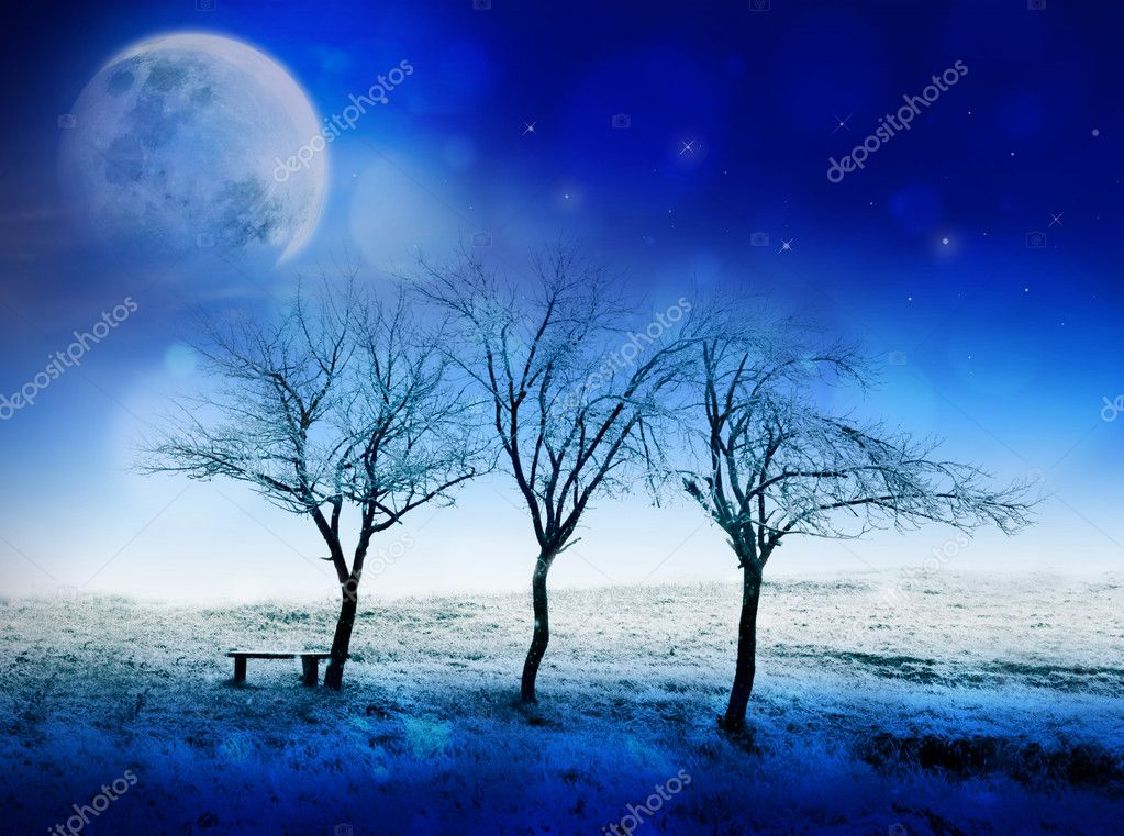 Winter night fairytale scene with moon, stars and snow. Can be used as Christmas or New Year card