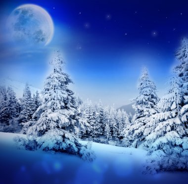 Winter night in fairy snowy fir forest with moon and starry sky. Christmas tree, winter mountains landscape. Can be used as Christmas or New Year card or greeting.