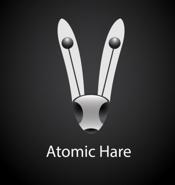 Atomic hare abstract logo template. Corporate icon such as logotype symbolizing technology, science. Vector, editable