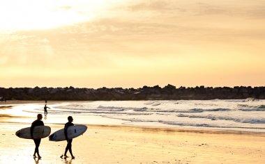 Surfistas en al playa al atardecer