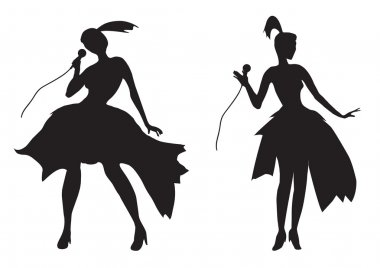 silhouette of a girl singing