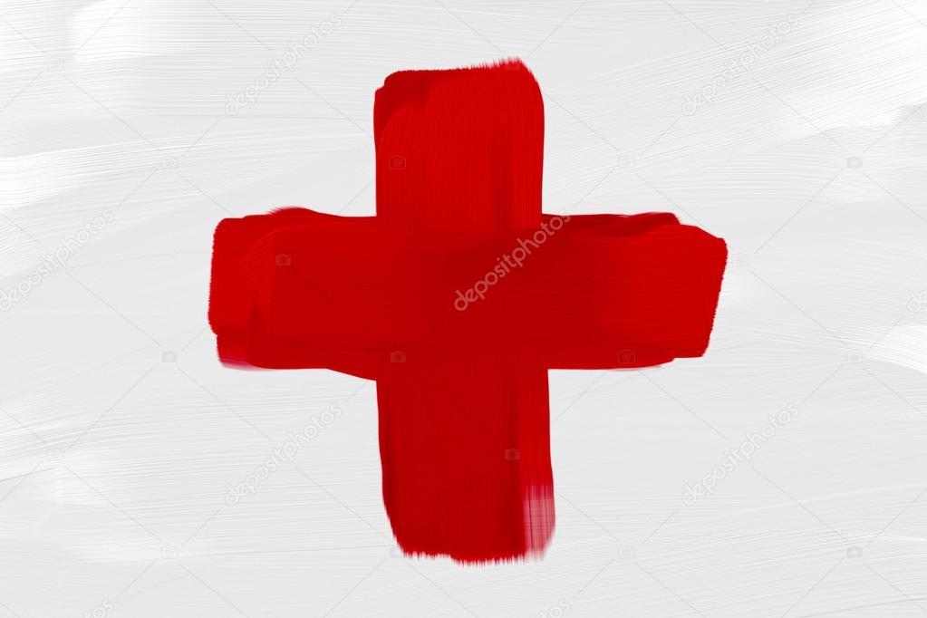 Mano Dipinta La Bandiera Croce Rossa Simbolo Medico Foto Stock