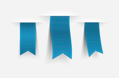 Three blue vector ribbon tags with shadows