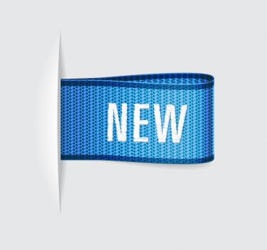 Blue vector textile label with embroidered word