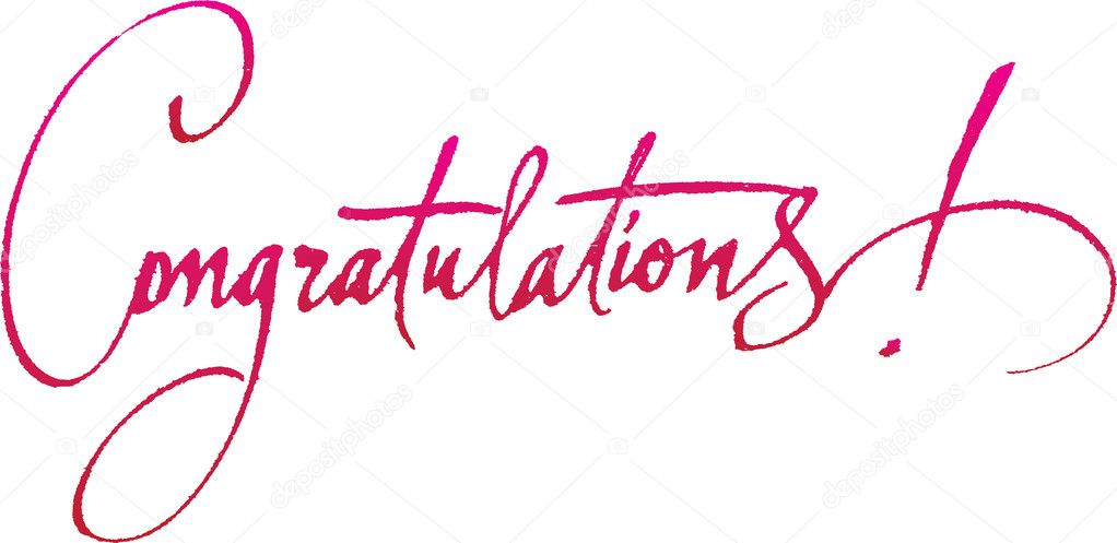 """""""Congratulations"""" original handwritten calligraphy for your logo, poster, ad or website — Stock ..."""