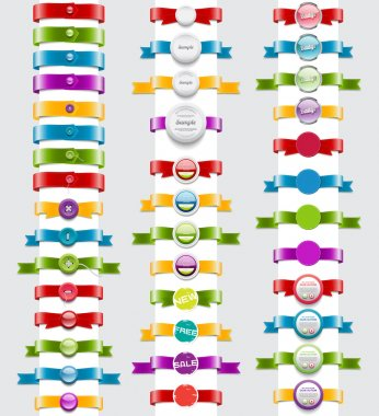 Big collection of vector ribbons and badges