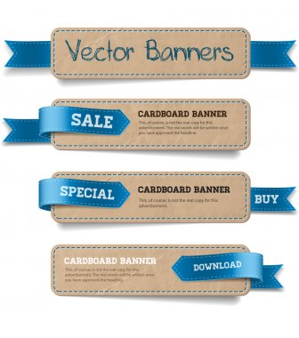 A set of vector promo cardboard paper banners decorated with blue ribbon tags clip art vector
