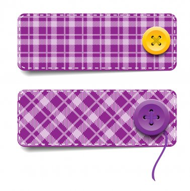 Purple vector tartan fabric textured badges with buttons