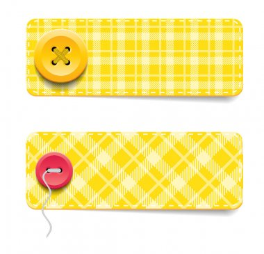 Yellow vector tartan fabric textured badges with buttons