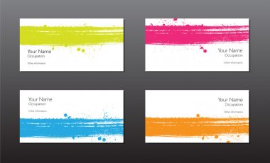 Four vector business cards template with hand painted brush strokes backgrounds with splatters