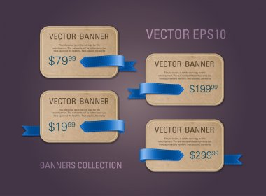 A set of horizontal vector cardboard paper promo banners decorated with blue ribbon tags