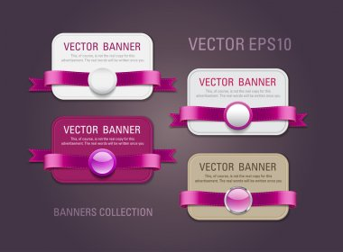 A set of horizontal vector promo banners decorated with purple ribbons and various plastic round seals