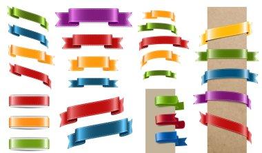 Vector satin ribbon tags collection