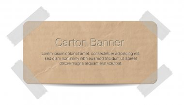 Vector cardboard label - banner attached with a sticky tape
